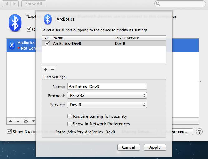 ArcBotics - Connecting your Bluetooth 2 1 Module with Mac OS X